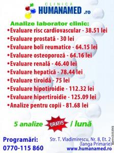 evaluare risc cardiovascular-prostata-reumatice-osteoporoza-renala-hepatica-tiroida-copii 25.03.2015 BIHON  humanamed laborator analize medicale