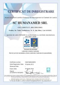 Certificat de inregistrare ISO laborator analize medicale Oradea HUMANAMED